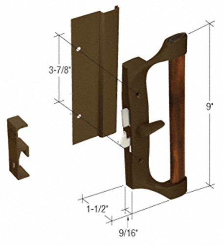 CRL Bronze/Wood Hook-Style Surface Mount Sliding Glass Door Handle 3-7/8