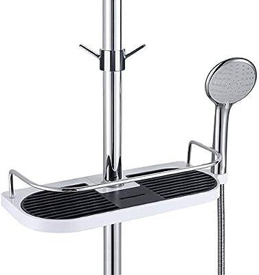 Fontic Estante para Ducha Estantería del baño caddy de la ducha del acero inoxidable, sin Perforar Adecuado para vara de 19mm to 25 mm con one gancho ...