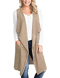 876b3f43b4934 Women Sleeveless Open Front Knitted Long Cardigan Sweater Vest Pocket