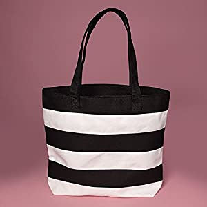 Amazon.com: Cotton Black and White Striped Canvas Tote Bags ...