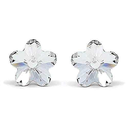 Ed Heart Anna Women's Stud Earrings with White Clear Flower Crystals from Swarovski Silver Toned Rhodium Plated, One Size