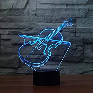 Optical Illusion 3D Violin Night Light 7 Colors Changing USB Power Touch Switch Decor Lamp LED Table Desk Lamp Brithday Children Kids Christmas Xmas Gift