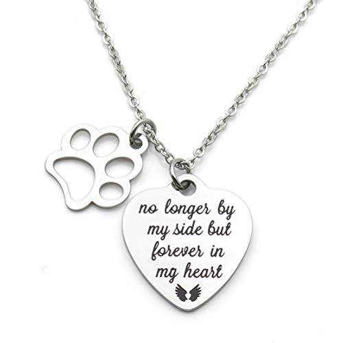 IDLAN Pet Memorial Gift No Longer by My Side But Forever in My Heart Stainless Steel Paw Prints Necklace Pet Sympathy Gift