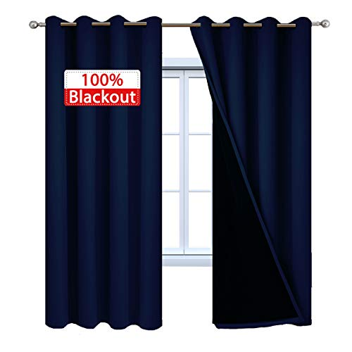 (Yakamok Noise Reducing 100% Blackout Curtains Energy Saving Thermal Insulated Soundproof Drapes with Black Liner for Bedroom (52Wx84L, Navy Blue, 2 Panels))