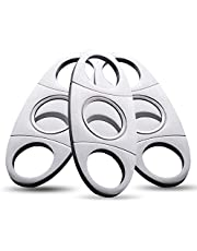 Cigar Cutter Guillotine, Stainless Steel Smooth Cigar Clippers Double Cut Blade, 3 Pack Silver Exquisite Scissors Accessories