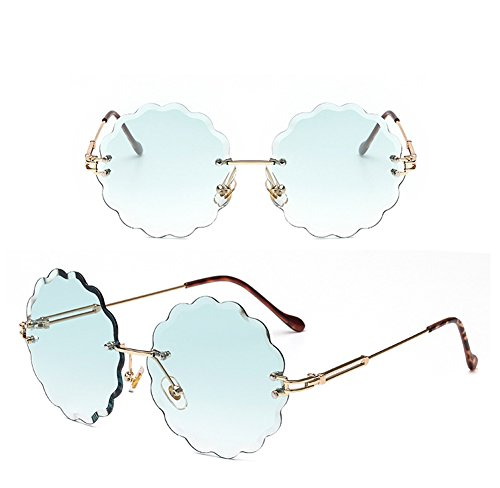 Green Frameless de Blue Gafas Decoration Personality Trimming Sol Color Flowers Color Moda Marine Glasses Unisex Gafas XwqpZ