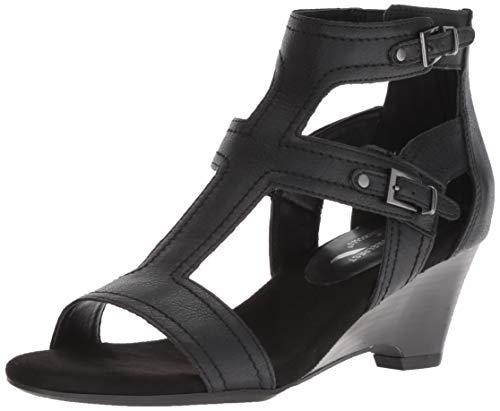 Maypole Wedge Sandal, Black, 7 M US ()