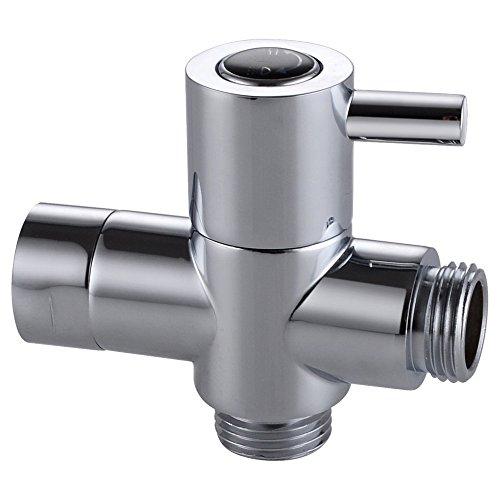 (Weirun Bathroom Modern BRASS Shower Arm Diverter Quarter Turn Hand Held Showerhead Flow Control Valve Handheld Spray Head Diverter, Polished Chrome)