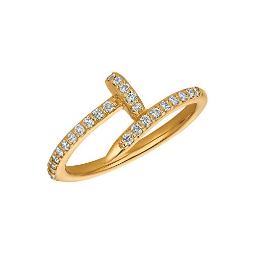 14k Yellow Gold 0.30ctw. Diamond Nail Ring -