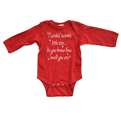 Cute Unisex Twinkle Little Star Nursery Rhyme Long Sleeve Comfy Baby Bodysuit  6 Months  Red