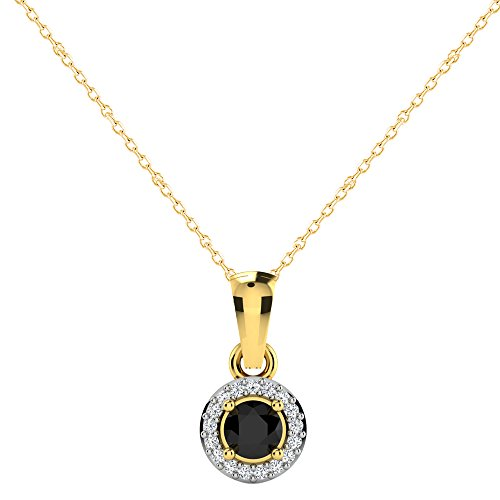 Libertini Pendentif argent 925 plaque or Jaune serti de Diamant