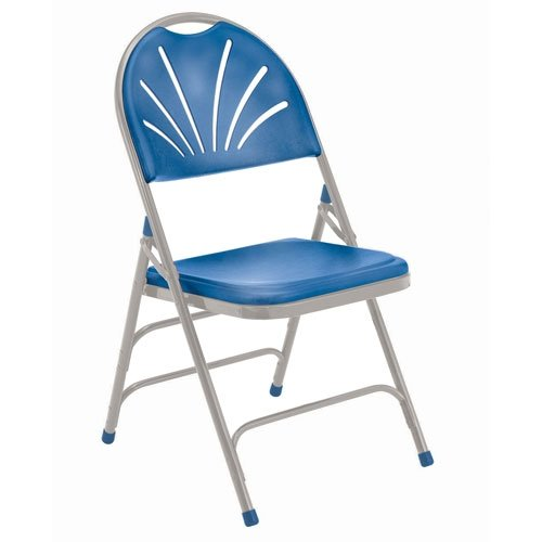 - National Public Seating NPS1105 Fan-Back Polyfold Chair, 1100 Series, 4 Per Carton, Blue Plastic, Grey Frame