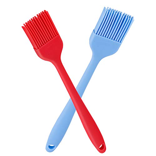 - Verigle Silicone Basting Brush Heat Resistant Food Grade for for BBQ Grill Barbecue Baking Kitchen Cooking, 8.3 inch, Red&Blue