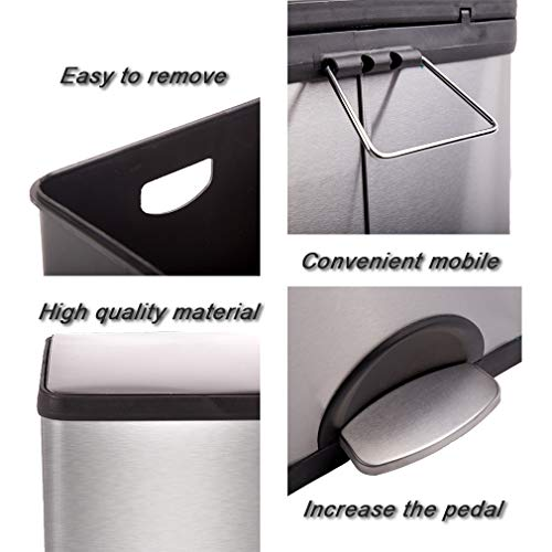 Metal Trash can Step Trash can Stainless Steel Trash can with Removable Inner lid for Home Kitchen Bathroom Office 10 Gallon / 30L by BestMassage (Image #4)
