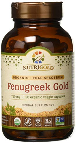 Organic Fenugreek Gold - 750 mg, 120 Organic Veggie Capsules (GMO-free, Preservative-free, Allergen-free Organic Fenugreek Seed Powder in Organic Capsules for Breastfeeding)