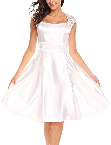 ANGVNS Women's Satin Homecoming Dresses Mini Short Cocktail Party Tank Dress White S (Tea Square Length Satin)
