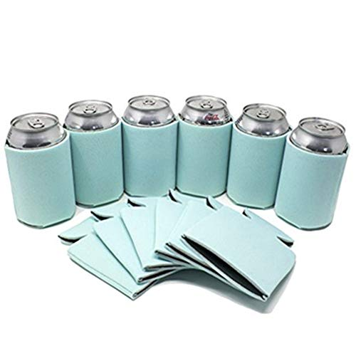 LUCKIPLUS Black Beer Can Coolers Neoprene Can Sleeves Collapsible Insulated Coolers Bulk 12 Packs, 25 Packs (12, Mint)
