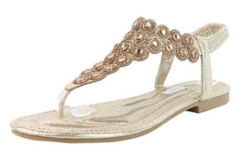 Donna Diamante Sandali Elastico Punta Oro Piatta Shu N43 Estivi Sling Scarpe Post back Fashion Crazy Rpn4TRq5w
