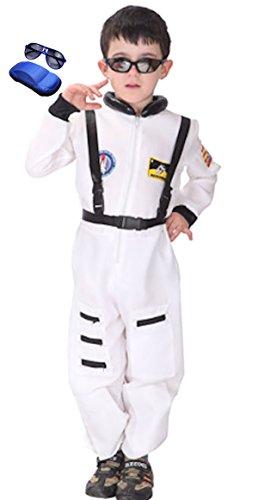 Cohaco Kid's Astronaut Air Force Flight Suit Role Play Costume with Glasses (Medium, Astronaut (Astronaut Flight Suit)