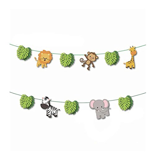 GEORLD Jungle Woodland Animals Banner for Birthday Wedding Forest Theme Party Home Decoration