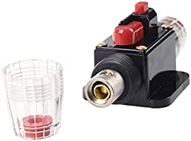 Qiorange 100A Auto Car Protection Stereo Switch Fuse Holders Inline Circuit Breaker Reset Fuse Inverter for Car Audio System Protection DC 12V-24V Fuse Holder D Type 100A