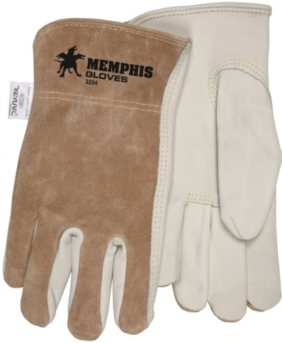 MCR Safety 3204KXL Grain Cow Full Leather Driver Select Grade Gloves with Split Back and 7-Gauge Kevlar Liner, Cream/Brown, X-Large, 1-Pair