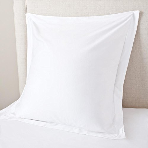 European Square Pillow Shams Set of 2 White 600 Thread Count 100% Natural Cotton Pack of Two Euro 26 x 26 Pillow Shams Cushion Cover, Cases Super Soft Decorative (European 26