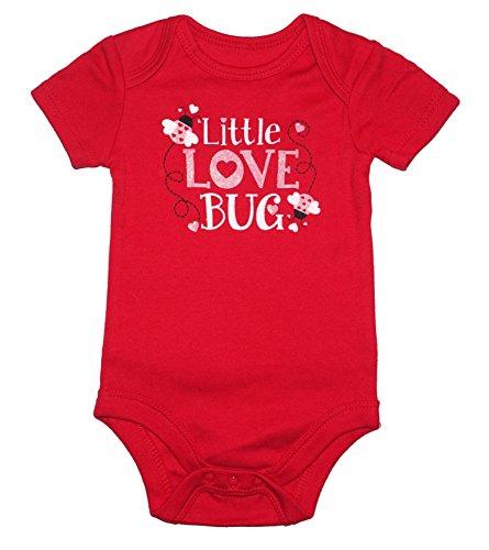 Valentines Day Love Bug - Topsville, Inc. Assorted Love & Heart Boys & Girls Valentine's Day Bodysuit Outfit (Newborn, Glitter Love Bug)
