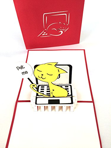 (2 Funny Cute Cat Popup Cards (Blank) Thinking of You,
