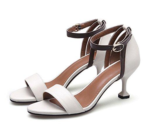 Sandals Blanquecino Talones Sandalias Coreana color Stiletto Tamaño Marrón Cuero Señoras Zhangyuqi 36 Las Hebilla Versión Con La De 58TYAqxw7