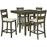 Standard Furniture Loft Counter Height Table with Four Chairs Set, Grey