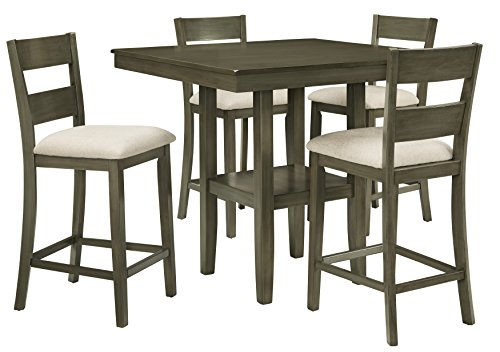 (Standard Furniture Loft Counter Height Table with Four Chairs Set, Grey)