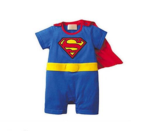 Rush Dance One Piece Super Hero Baby Superman Superboy Romper Onesie Cape Suit (90 (12-18M), Red & Blue (Baby Super Hero)