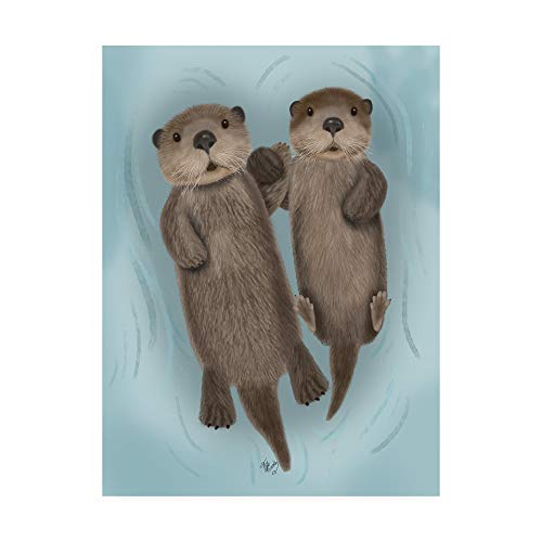 Trademark Fine Art Otters Holding Hands by Fab Funky, 14x19,