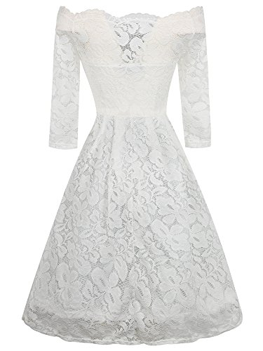 Women's Dress oxiuly Shoulder Casual White Party Cocktail Swing Off Lace OX228 Stretch dqwz6