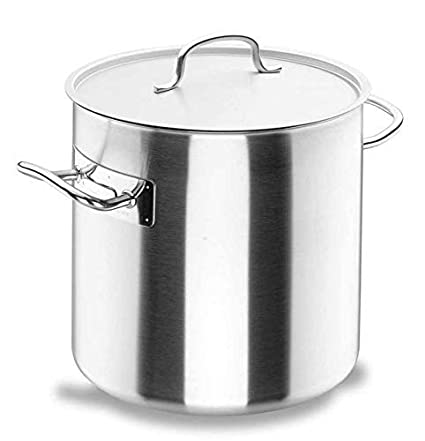Lacor Chef-Classic 50120 - Olla recta con tapa, Acero Inoxidable 18/10