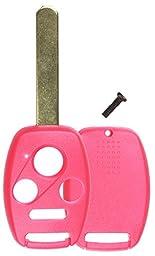 KeylessOption Just the Case Keyless Entry Remote Head Key Combo Fob Shell - Pink