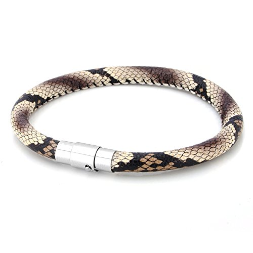JewelrieShop Braided Leather Bracelet for Mens Women Woven Wrap Bracelet Magnetic Lock Clasp Genuine Leather Bracelet Wristband Vintage Cuff Bracelet Leather Jewelry Friendship Bracelet (Brown Snake)