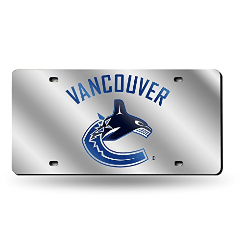 Rico Industries NHL Vancouver Canucks Laser Inlaid Metal License Plate Tag, Silver