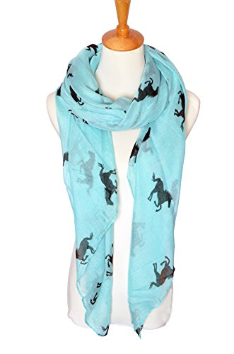 Herebuy Cool Animal Print Scarves: Fashionable Horse Print Scarf for Women (Blue&Black)