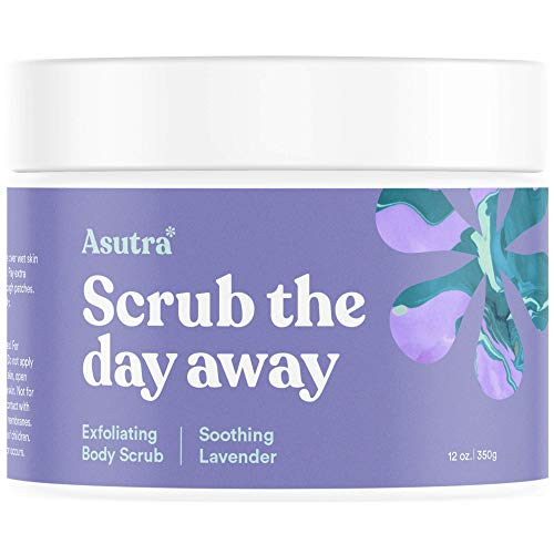 Asutra, Organic Exfoliating Body Scrub, Soothing Lavender, 100% Dead Sea Salt Scrub, Ultra Hydrating and Moisturizing Scrub, Skin Smoothing Jojoba, Sweet Almond, and Argan Oils, 12 oz. Jar