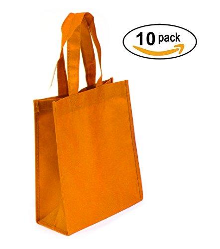 Non-woven Reusable Tote Bags, Heavy Duty Non-woven Polypropylene, Small Gift Tote Bag, Book Bag, Non Woven Bag Multipurpose Art Craft Screen Print School Bag (Orange, Set of 10)
