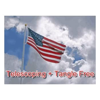 ... Silver Aluminum Tangle Free No Furl Residential Flagpole WindStrong®  2.5 Inch Butt MADE IN THE USA 5 YR WARRANTY U0026 3x5 US Nylon Flag By Valley  Forge