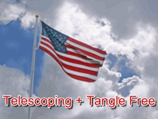 21 FT Heavy Duty Tapered Telescoping Silver Aluminum Tangle Free No Furl Residential Flagpole WindStrong® 2.5 Inch Butt MADE IN THE USA 5 YR WARRANTY & 3x5 US Nylon Flag By Valley Forge ()
