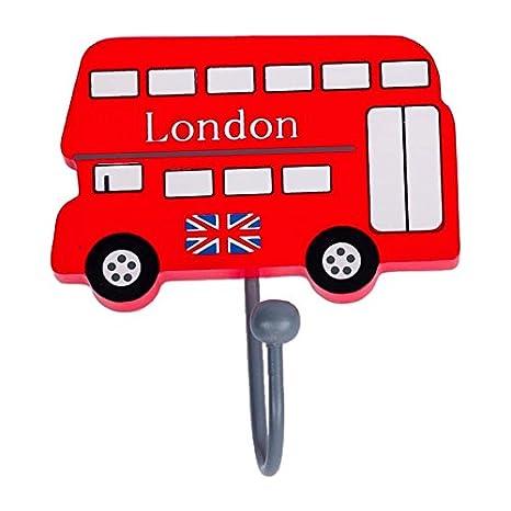 Tinkie Toys - Perchero de madera hecho a mano con diseño de autobús de Londres: Amazon.es: Bebé
