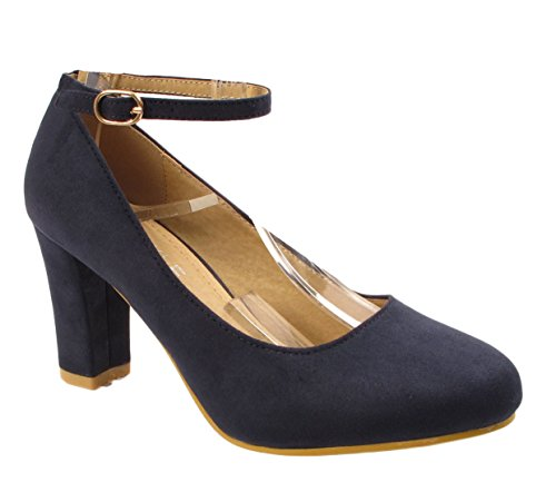 Faux col Suede Donna Scarpe Tacco Navy Gizelle q7HXFa4wH