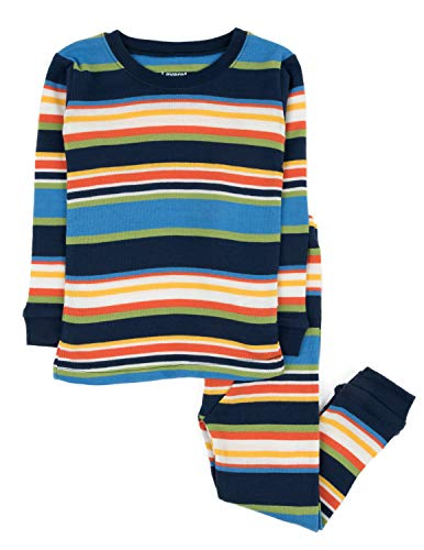 Leveret Striped 2 Piece Pajama Set 100% Cotton (2 Toddler, Colorful)