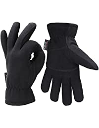 Men Winter Gloves, -20°F Cold Proof Thermal Gloves, Deerskin Suede Leather Palm and Polar Fleece Back with Heatlok Insulated Cotton Layer - Keep Warm in Cold Weather