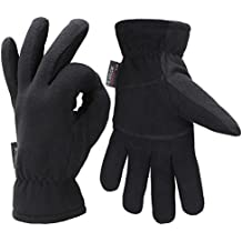Fantastic Zone Men Winter Gloves, -20°F Cold Proof Thermal Gloves, Deerskin Suede Leather Palm and Polar Fleece Back with Heatlok Insulated Cotton Layer - Keep Warm in Cold Weather