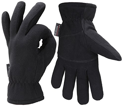 (Fantastic Zone Men Winter Gloves, -20°F Cold Proof Thermal Gloves, Deerskin Suede Leather Palm and Polar Fleece Back with Heatlok Insulated Cotton Layer - Keep Warm in Cold Weather, Black, L)